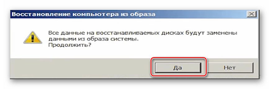 Подтверждение запуска восстановления системы из резервной копии в Windows 7
