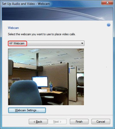 Selecting a webcam in Messenger
